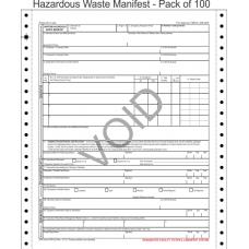 Hazardous Waste Manifest 5-Part Continuous Computer Feed Form C5HW-100