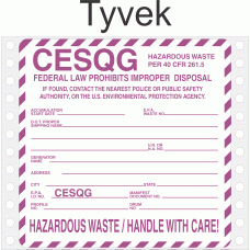 Conditionally Exempt Small Quantity Generator CESQG Tyvek Labels