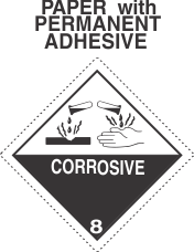 Corrosive Class 8 Paper Labels - Dashed Outer Border