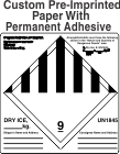 Custom Miscellaneous Dangerous Goods Class 9 Dry Ice Labels