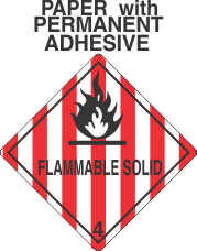 Flammable Solid Class 4.1 Paper Labels