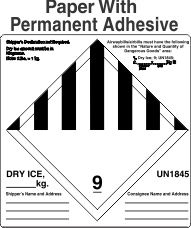 Miscellaneous Dangerous Goods Class 9 Dry Ice Labels