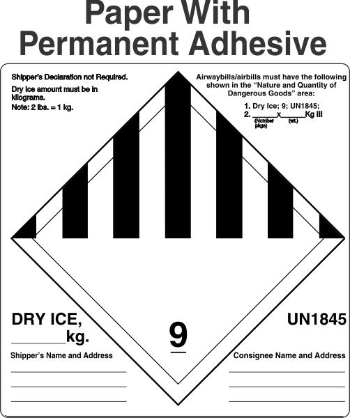 Dry Ice Label Fedex