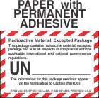 Radioactive Excepted Package Class 7 Paper Labels