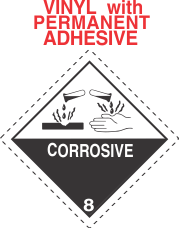 Corrosive Class 8 Vinyl Labels - Dashed Outer Border