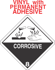 Corrosive Class 8 Vinyl Labels