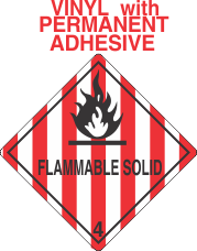 Flammable Solid Class 4.1 Vinyl Labels
