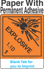 (Blank) Explosive Class 1.1D Proper Shipping Name Paper Labels