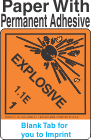 (Blank) Explosive Class 1.1E Proper Shipping Name Paper Labels