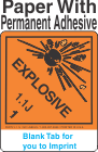 (Blank) Explosive Class 1.1J Proper Shipping Name Paper Labels