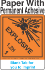 (Blank) Explosive Class 1.2H Proper Shipping Name Paper Labels