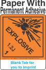 (Blank) Explosive Class 1.2J Proper Shipping Name Paper Labels