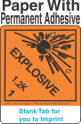 (Blank) Explosive Class 1.2K Proper Shipping Name Paper Labels