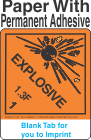 (Blank) Explosive Class 1.3F Proper Shipping Name Paper Labels