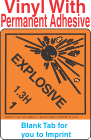 (Blank) Explosive Class 1.3H Proper Shipping Name Vinyl Labels