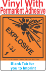 (Blank) Explosive Class 1.3J Proper Shipping Name Vinyl Labels