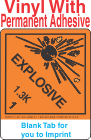 (Blank) Explosive Class 1.3K Proper Shipping Name Vinyl Labels