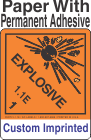 Explosive Class 1.1E Custom Imprinted Shipping Name Paper Labels