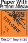 Explosive Class 1.1L Custom Imprinted Shipping Name Paper Labels