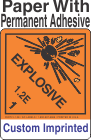 Explosive Class 1.2E Custom Imprinted Shipping Name Paper Labels