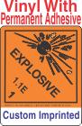 Explosive Class 1.1E Custom Imprinted Shipping Name Vinyl Labels