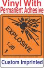 Explosive Class 1.2B Custom Imprinted Shipping Name Vinyl Labels