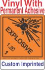 Explosive Class 1.2C Custom Imprinted Shipping Name Vinyl Labels