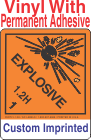 Explosive Class 1.2H Custom Imprinted Shipping Name Vinyl Labels
