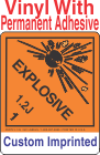 Explosive Class 1.2J Custom Imprinted Shipping Name Vinyl Labels
