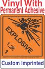 Explosive Class 1.2K Custom Imprinted Shipping Name Vinyl Labels