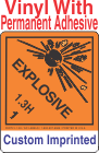 Explosive Class 1.3H Custom Imprinted Shipping Name Vinyl Labels