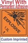 Explosive Class 1.3L Custom Imprinted Shipping Name Vinyl Labels
