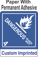 Dangerous When Wet Class 4.3 Custom Imprinted Shipping Name Paper Labels