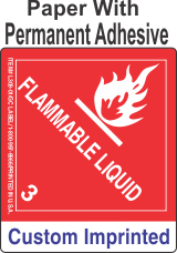Flammable Class 3 Custom Imprinted Shipping Name Paper Labels