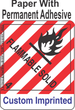 Flammable Solid Class 4.1 Custom Imprinted Shipping Name Paper Labels