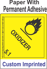 Oxidizer Class 5.1 Custom Imprinted Shipping Name Paper Labels