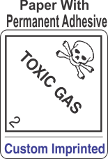 Toxic Gas Class 2.3 Custom Imprinted Shipping Name Paper Labels