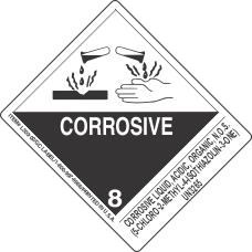 Corrosive Liquid, Acidic, Organic, N.O.S. (5 Chloro 2 Methyl 4 Isothiazolin 3 One) UN3265