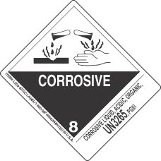 Corrosive Liquid, Acidic, Organic, UN3265, PGIII