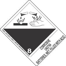 Corrosive UN2794 Batteries, Wet, Filled With Acid