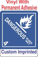 Dangerous When Wet Class 4.3 Custom Imprinted Shipping Name Vinyl Labels