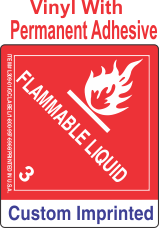 Flammable Class 3 Custom Imprinted Shipping Name Vinyl Labels
