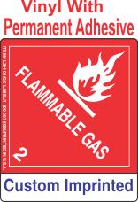 Flammable Gas Class 2.1 Custom Imprinted Shipping Name Vinyl Labels