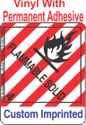Flammable Solid Class 4.1 Custom Imprinted Shipping Name Vinyl Labels