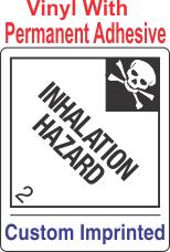 Inhalation Hazard Class 2.3 Custom Imprinted Shipping Name Vinyl Labels