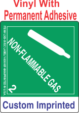 Non-Flammable Gas Class 2.2 Custom Imprinted Shipping Name Vinyl Labels