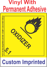 Oxidizer Class 5.1 Custom Imprinted Shipping Name Vinyl Labels