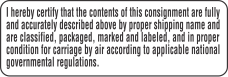 Certify Contents For Air Carriage Labels