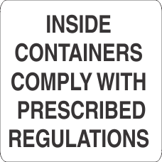 Inside Containers Comply With Prescribed Specifications Label