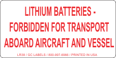 Lithium Batteries Forbidden for Transport